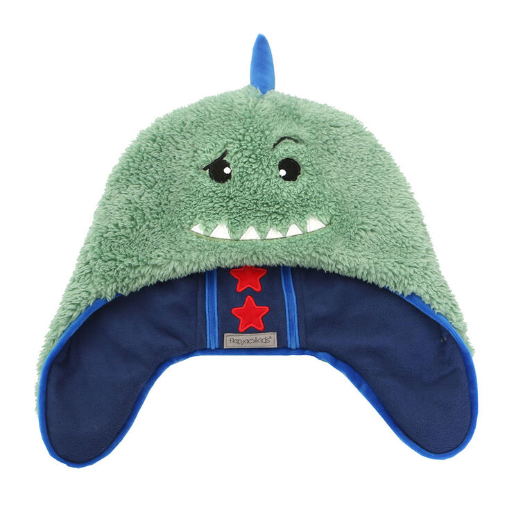 FlapJackKids - Baby, Toddler, Kids, Boys - Water Repellent Trapper Hat - Sherpa Lining - Dino/Astronaut - Medium 2-4 years
