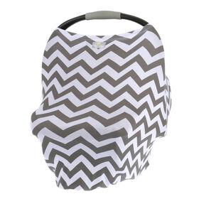Couverture d'allaitement polyvalente 4-en-1 Mom Boss d'Itzy Ritzy, housse de siège-auto, housse pour caddie et écharpe infinie, de chevron
