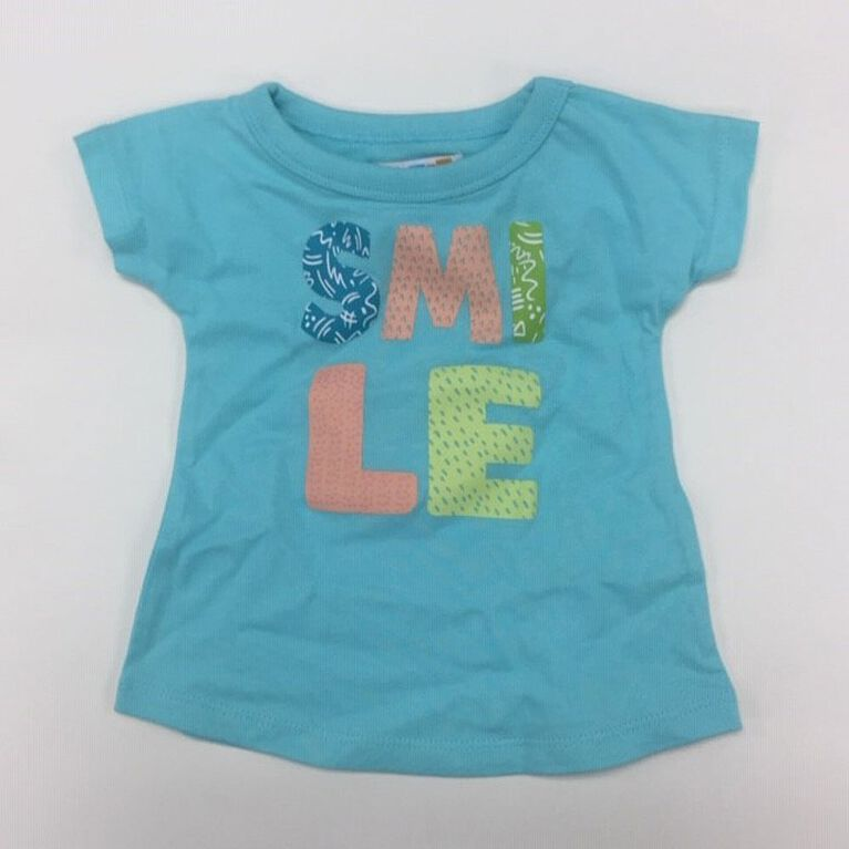Coyote and Co. - T-shirt SMILE - Bleu aqua - 0-3 mois.