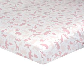 Just Born Dream Fitted Crib Sheet - Pink Jungle