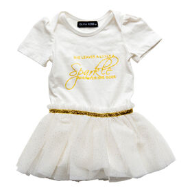 Olivia Rose –Short Sleeve Fairy Print Tutu Dress – White - 6-9 Months