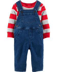 Carter's 2-Piece Striped Tee & Overall Set - Red/Grey/Blue, 18 Months