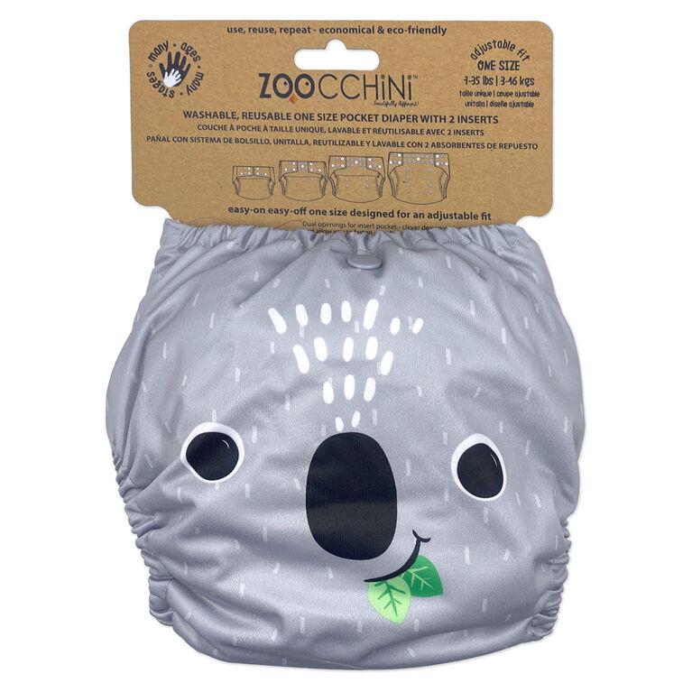 Zoocchini - Cloth Diaper & 2 Inserts - Koala - One Size - 7-35 lbs