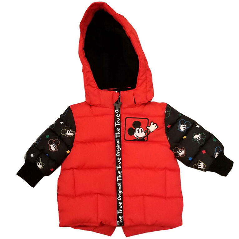 Baby Boy Mickey Mouse Puffer Jacket with contrast sleeve 12 Months