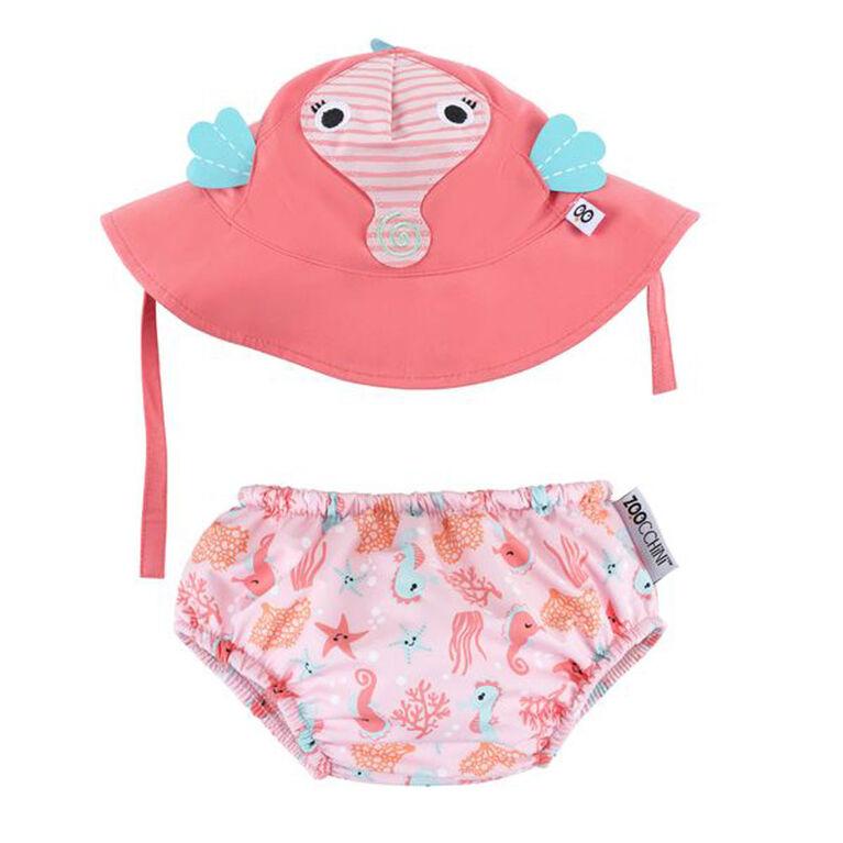 Zoocchini - Swim Diaper & Hat Set - Seahorse - Medium