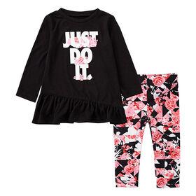 Nike Tokyo Floral Tunic & Legging Set Black With Pink, Size 2T