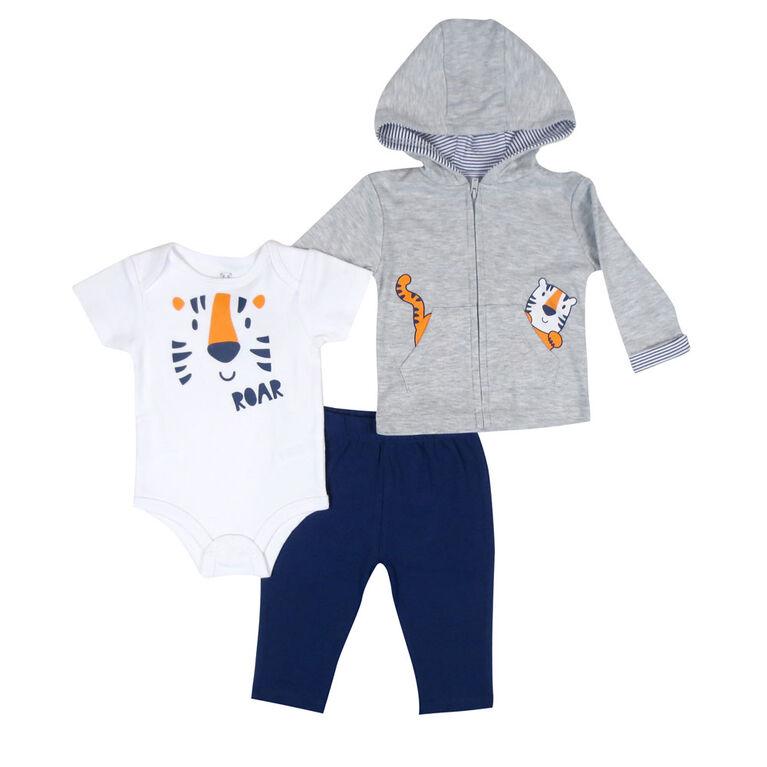 Rococo 3 Piece Cardigan Set - Grey, Newborn