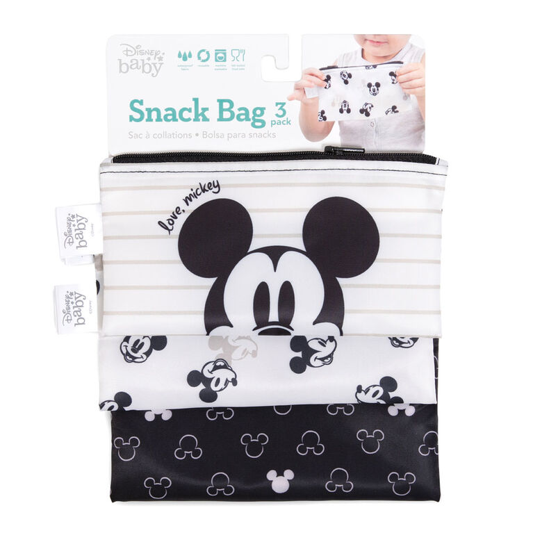 Sacs à sandwich / collations Bumkins Disney, sans BPA, lot de 3 - Mickey Mouse