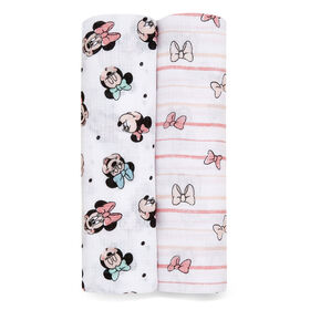 Aden Essentials - Disney 2-Packs Swaddle - Minnie Rainbows