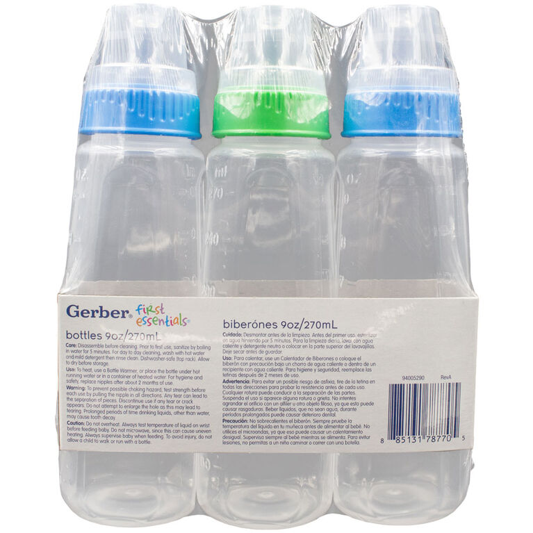 First Essentials by NUK Clear View Bottle, 9 oz., Medium Flow, 3-Pack