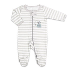 Koala Baby Sleeper - Light Grey Stripe Elephant, 0-3 Months