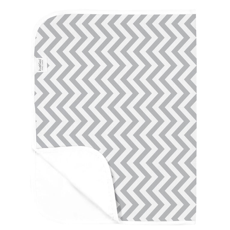 Kushies Portable Changing Pad Liner Flannel Grey Chevron