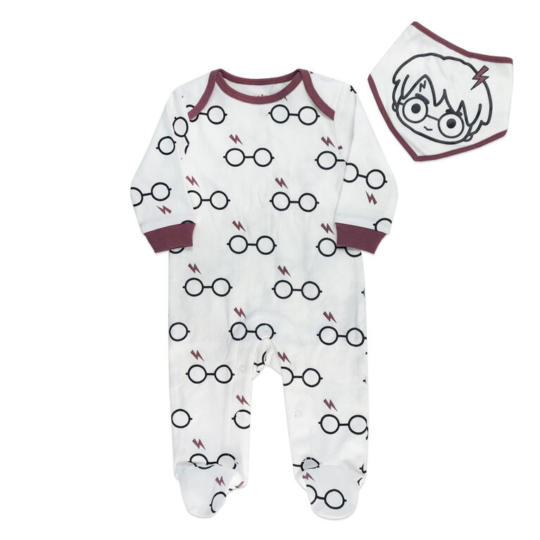 Harry Potter Sleeper with bibs - White, 12 Months.