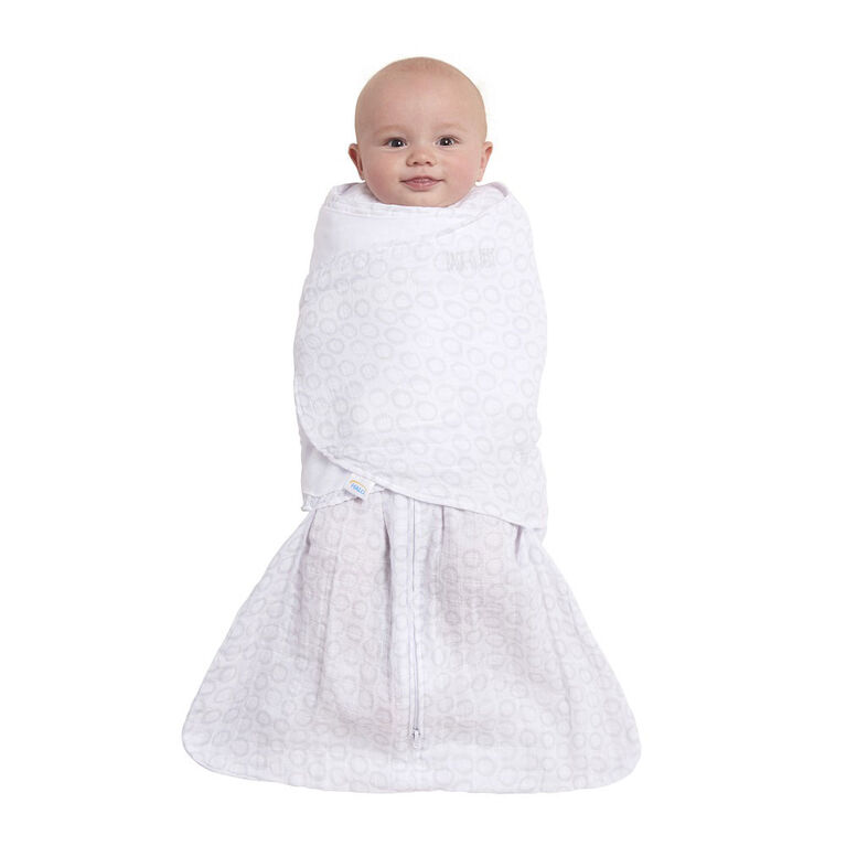 HALO SleepSack swaddle muslin - Grey Open Circles - Small