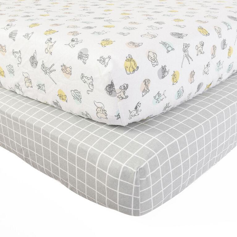Disney plusieurs caractères, Les débuts de la nature, paquet de 2 draps de lit en flanelle