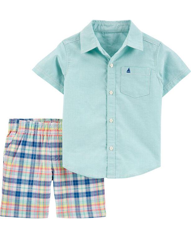Carter's 2-Piece Oxford Button-Front Shirt & Plaid Short Set - Mint, 3 Months