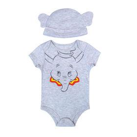 Disney Dumbo 2-Piece Bodysuit and Hat - Grey, 6 Months