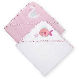 Koala Baby 2-Pack Hooded Towel, Pink Swan and Fish