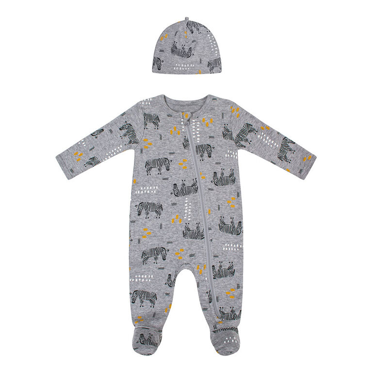 PL Baby Safari Baby Sleeper & Knit Hat Heather Grey 3M