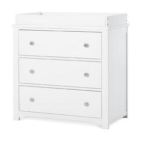 Commode à 3 tiroirs Harmony avec ensemble de table à langer, Blanc Mat.