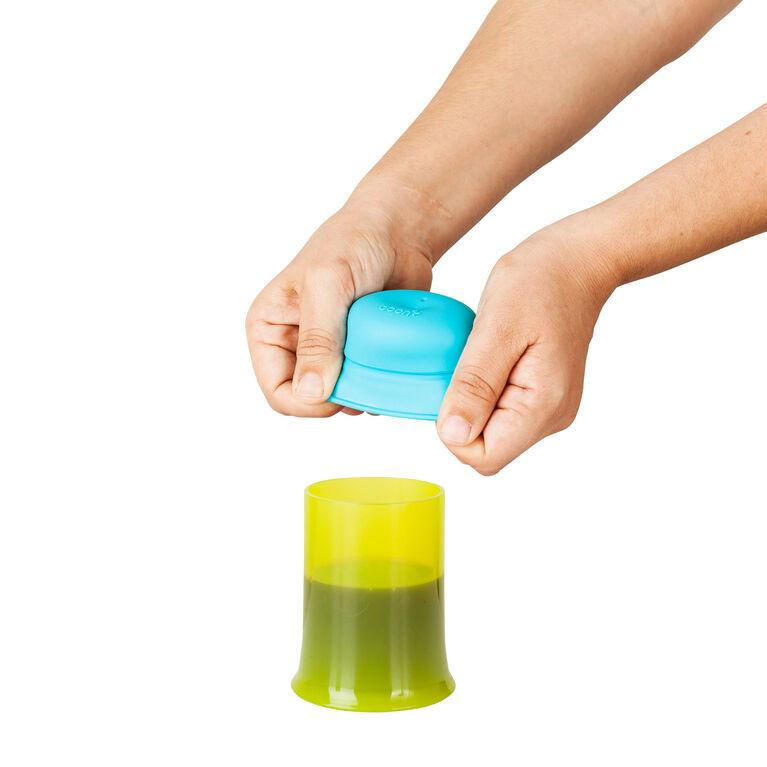 Couvercle universel à paille ajusté et ensemble de couvercles de Boon - vert/bleu/orange.