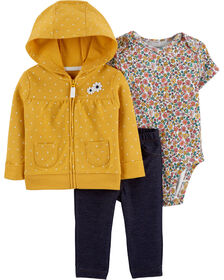 Carter's 3-Piece Floral Cardigan Set - Yellow, 12 Months