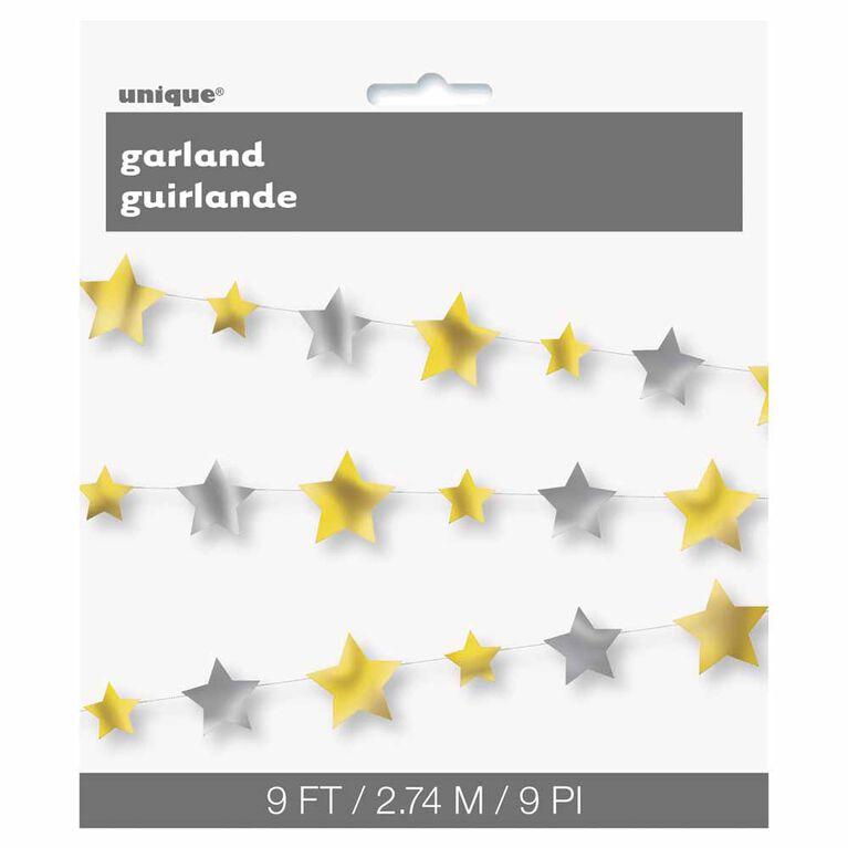 Guirlande D`Etoiles Argent Et Or 9Ft - Édition anglaise