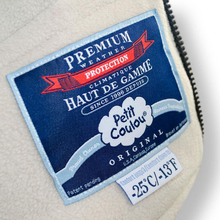 Petit Coulou Housse de banc d'auto d'hiver  bleue à col ivoire effet fourrure