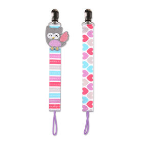No Throw 2-Pack Pacifier Holder - Owl