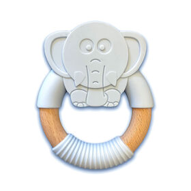 """babyworks Silicone & Beechwood Teething Ring - """"Elly"""" Elephant"""