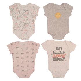 Koala Baby 4-Pack Bodysuit - Pink, Preemie