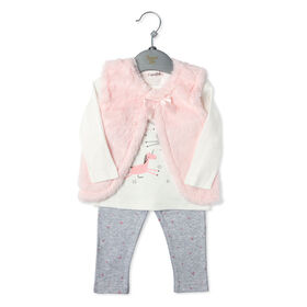 Bonjour Bebe - Girls 3 Piece Vest Set: Unicorn - 12-18 Months