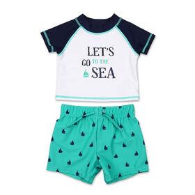 2pièces dermoprotecteur Koala Baby à manches courtes Let's Go To The Sea avec short de bain - 24 mois