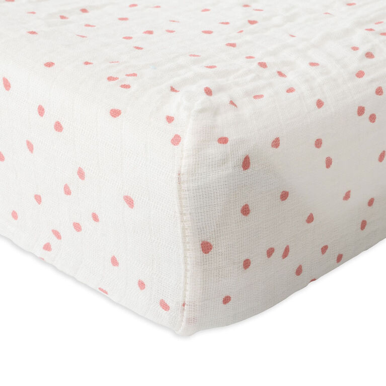 Red Rover - Cotton Muslin Changing Pad Cover - Cherry Petals - R Exclusive