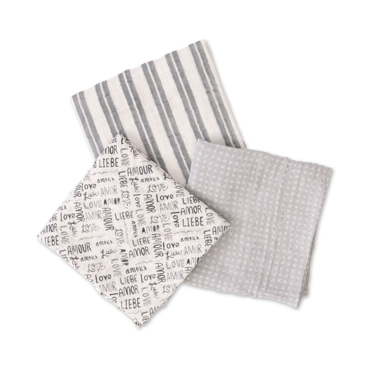 Red Rover - Cotton Muslin Swaddle 3 Pack - Love Language - R Exclusive