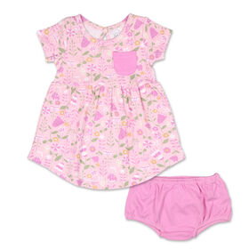 Koala Baby Short Sleeve Dress with Bloomers, Pink Flower Print - 3-6 Months