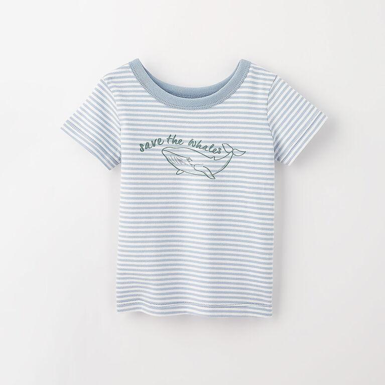 3-6m t-shirt imprimé à manches courtes - bleu pâle