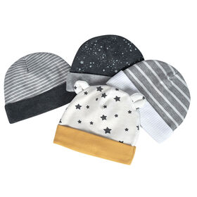 Just Born Baby Boys 4-Pack Organic Hats - Lil Lion 0-6 Months