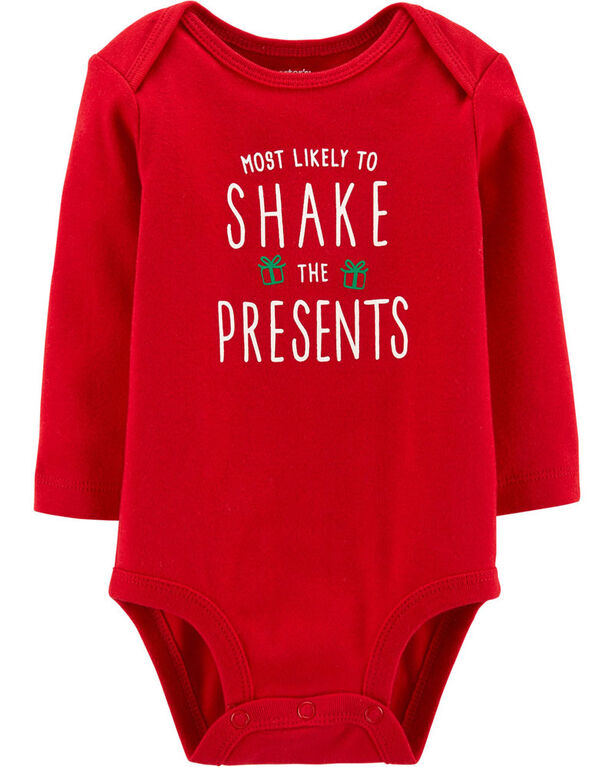 "Carter's ""Shake The Presents"" Christmas Collectible Bodysuit - Red, 3 Months"