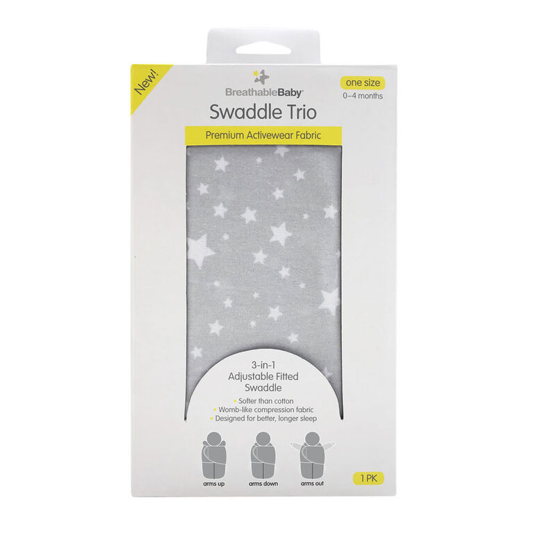 Breathable Baby Swaddle Trio- Starlight Grey