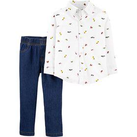 Ensemble 2 pièces chemise boutonnée et pantalon en denim Carter's - ivoire/bleu, 3 mois.