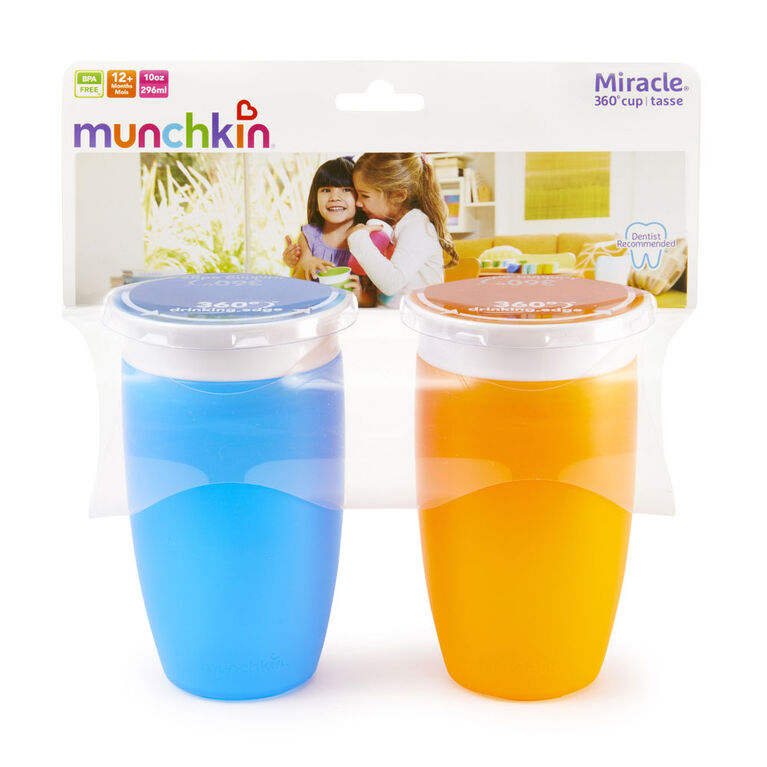 Munchkin's BPA Free 2-Pack 10 Ounce Miracle 360 Degree Cup - Blue
