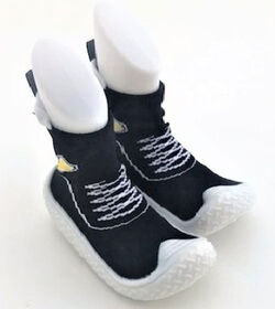 Tickle toes - White Sole & Black Lace up Skids Proof Shoes 18-24 Months