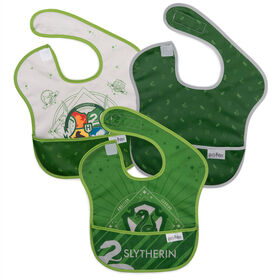 Bumkins Harry Potter SuperBib, Baby Bib, Waterproof, Washable, Stain & Odor Resistant, 6-24 Months, 3 Pack - Slytherin