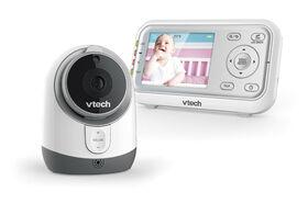 VTech Moniteur de bébé numérique de 2,8 po à couleur intégrale et vision nocturne automatique - blanc