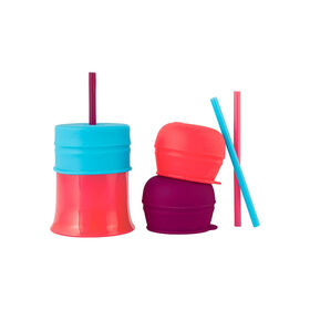 Boon Snug Straw Universal Lid and Cup Set - Blue/Pink/Purple