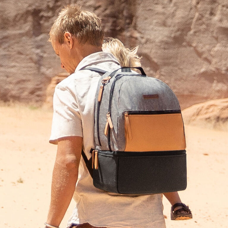 Petunia Pickle Bottom - Axis Backpack in Camel/Graphite - Diaper Bag Backpack