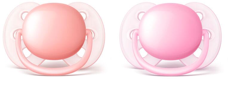 Philips AVENT suce ultradouce de 0 à 6 mois, Paquet de 2  - rose/pêche.