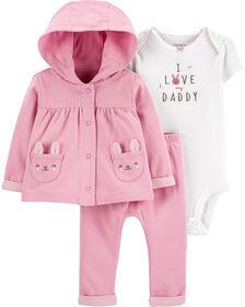 Carter's 3-Piece Bunny Little Cardigan Set Pink - 9 Months