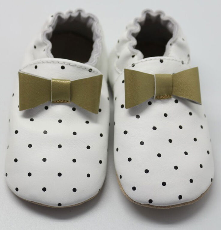 Tickle-toes White with Dots & Gold Bow 100% Soft Leather Shoes 0-6 Months